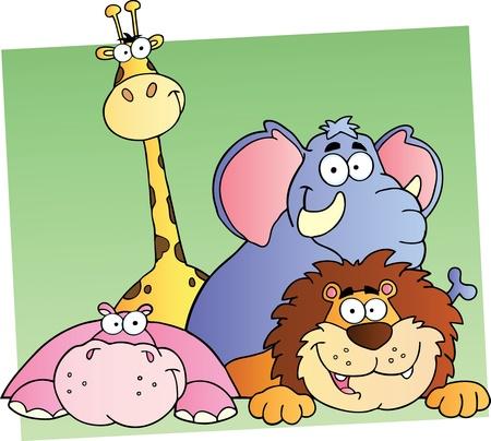 Vier Cartoon Jungle Dieren