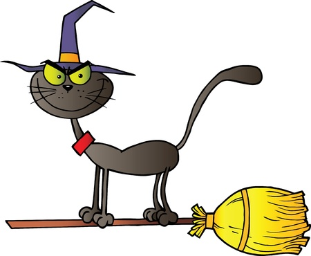 Black Cat Which Fly A Broom Vettoriali