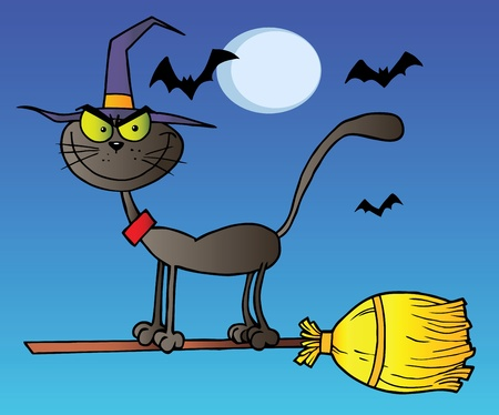 Black Cat Which Fly A Broom In Night Vector