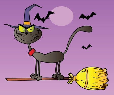 Black Cat Which Fly A Broom In Halloween Night Vector