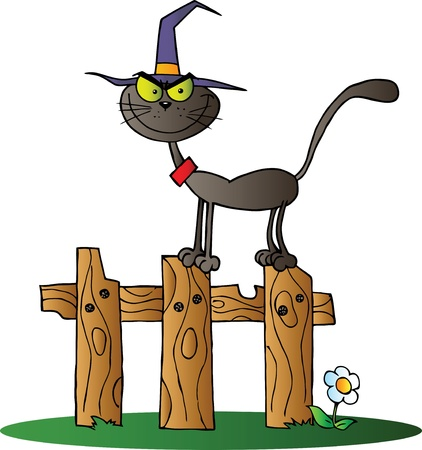 cute cartoon: Black Cat Witch On A Fence Illustration