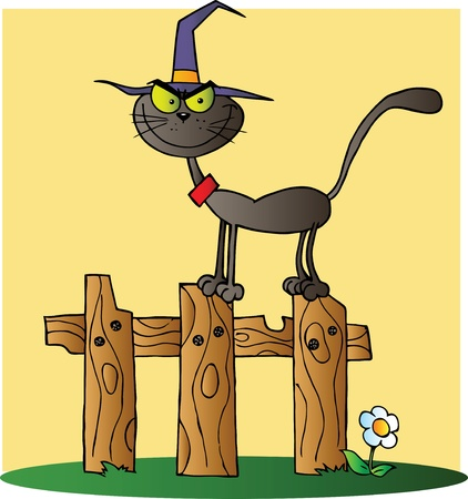 Black Cat Witch Cartoon Character On A Fence Vector