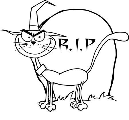 Outlined Halloween Witch Cat By A Tombstone Vector