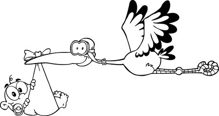 new born baby girl: Outlined Stork Delivering A Newborn Baby Boy Illustration