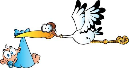 Stork Delivering A Newborn Baby Boy
