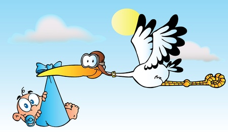 Stork Delivering A Baby Boy Illustration