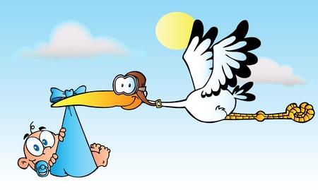 new born baby boy: Stork Delivering A Baby Boy Illustration