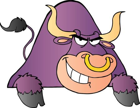 Purple Bull Over A Sign Stock Vector - 10596163