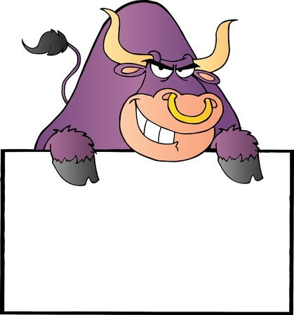 Purple Bull And Blank Sign Illustration