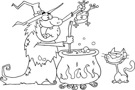 bruja: Esbozó a bruja loca con gato negro sosteniendo una rana y preparar una poción