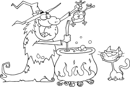 Outlined Crazy Witch With Black Cat Holding A Frog And Preparing A Potion Vector