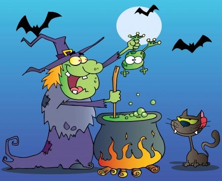 heks: Crazy Heks Met Zwarte Kat Die Een Kikker en werkt aan een Potion In Night