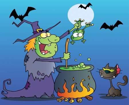 Crazy Witch With Black Cat Holding A Frog And Preparing A Potion In Night Vector