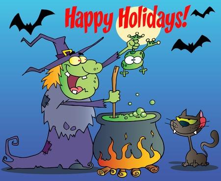 rana venenosa: Felices vacaciones a través de saludo bruja con gato negro sosteniendo una rana y preparar una poción