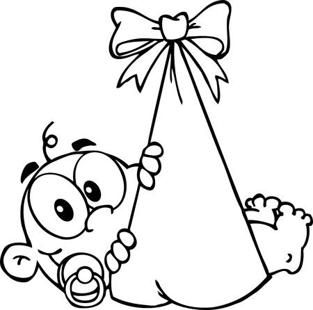 Outlined Baby Boy In Bundle Illustration