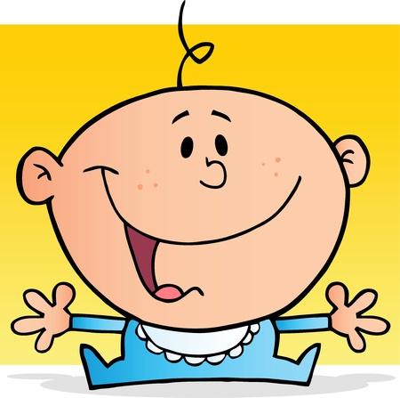 Happy Baby Boy Cartoon Character Vector