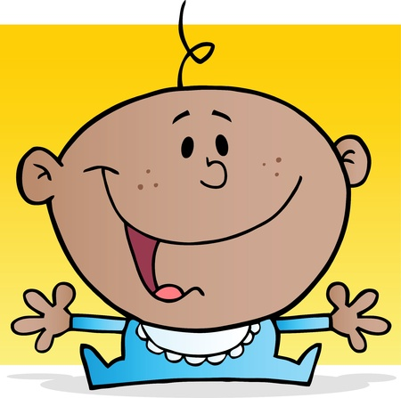 Happy African American Baby Boy Cartoon Character