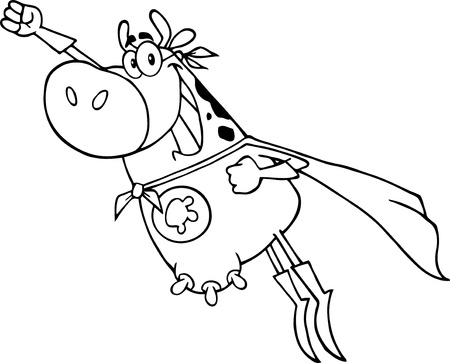 Outlined Hero Cow Vector