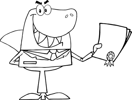 Outlined Shark Businessman Holding A Bad Contract In His Hand  Vector