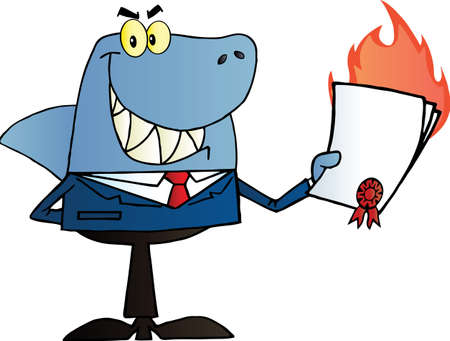 deceptive: Shark Verkoper Holding A Bad Contract In Zijn Hand