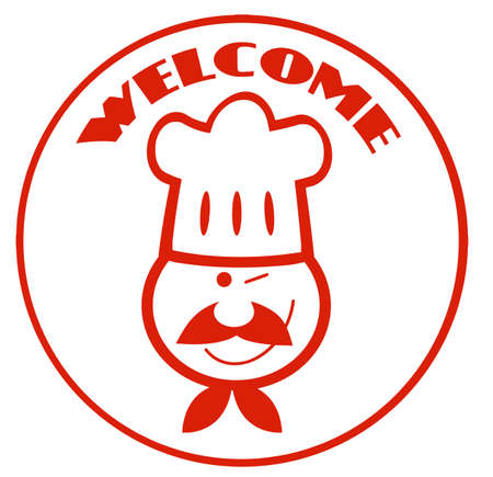 Welcome Chef Face Circle Stock Vector - 10748885
