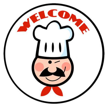logo de comida: Bienvenido Chef Círculo cara Vectores