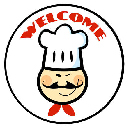 Welcome Chef Face Circle  Stock Vector - 10748889