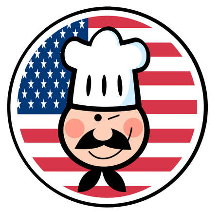 winking: Winking Chef Face Over An American Flag Circle  Illustration