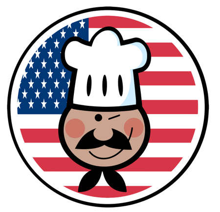 Winking Black Chef Face Over An American Flag Circle  Vector