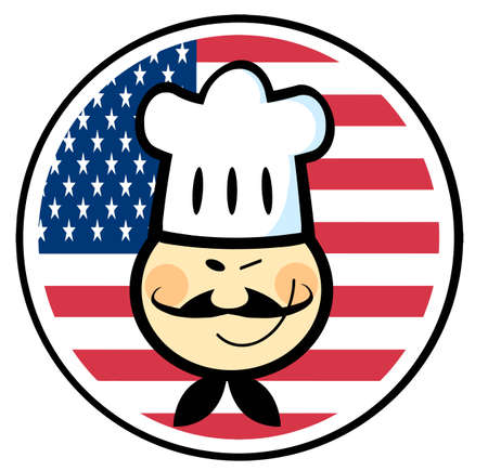 Winking Asian Chef Face Over An American Flag Circle Vector