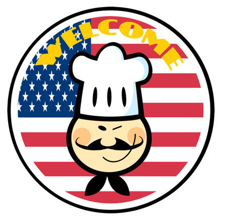 Asian Chef Face Over An American Flag Circle With Welcome Text Vector