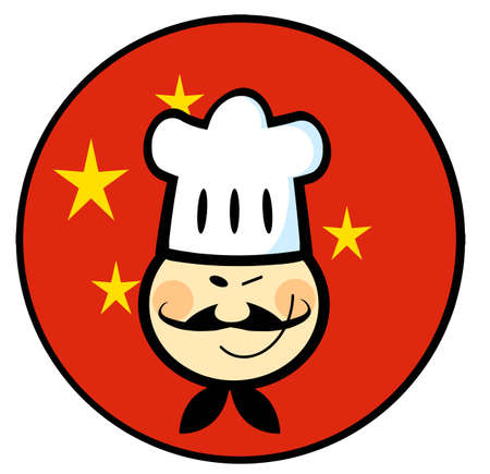 Asian Chef Face Over A China Flag Circle Vector