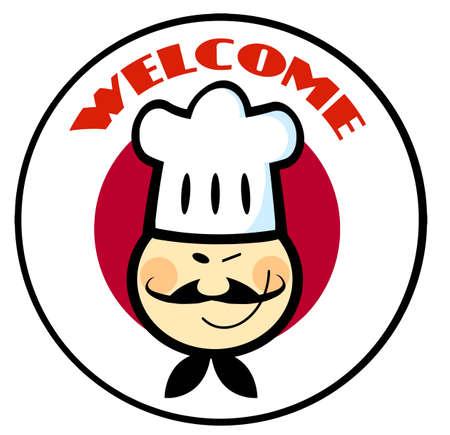 bandera japon: C�rculo del pabell�n japon�s Chef asi�tico m�s de cara a