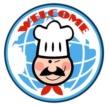 Winked Chef Man Face Cartoon Logo In Front Globe Vector