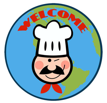 Winking Chef Face Over Earth Stock Vector - 10748896