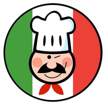 chef italiano: Guiño Chef cara sobre un círculo de bandera italiana Vectores