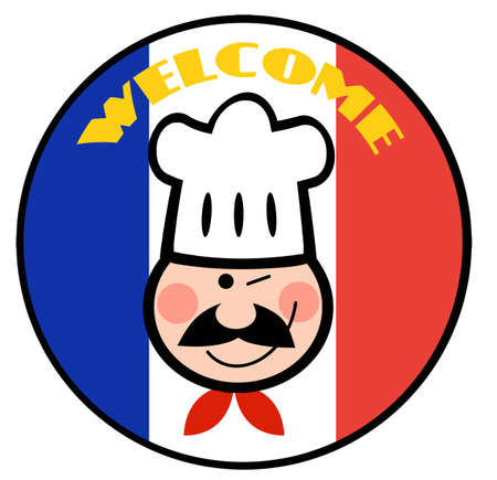 Winking Chef Face On A Welcome French Flag Circle  Vector