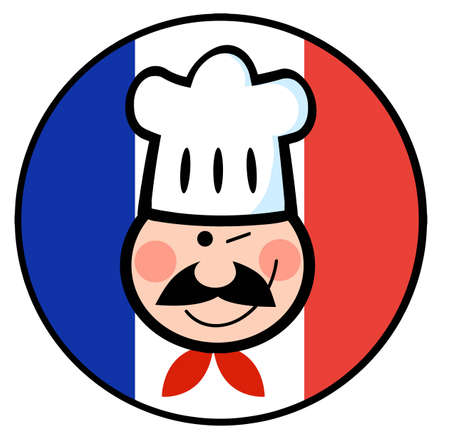 winking: Strizza l'occhio volto Chef su un cerchio bandiera francese Vettoriali