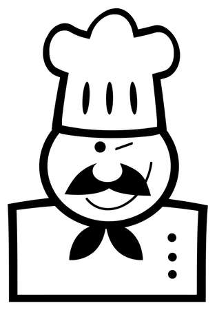 Outlined Chef Man Face Black Cartoon Mascot Vector