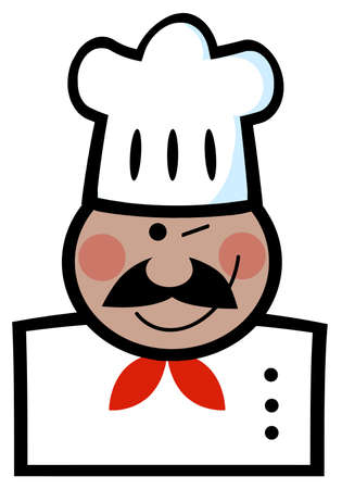fine cuisine: African American Chef Man Face Cartoon Mascot
