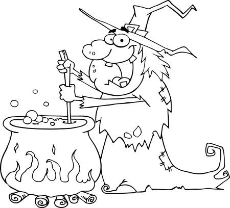 outlined isolated: Esboz� a fea bruja de Halloween, prepara una poci�n Vectores