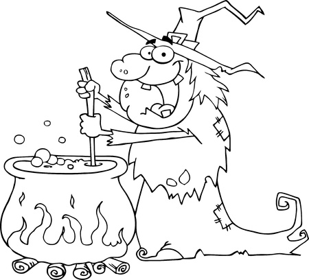 Outlined Ugly Halloween Witch Preparing A Potion Vector