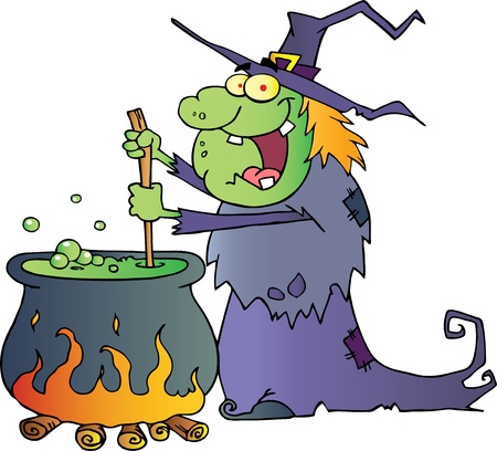 cartoon witch: Ugly Halloween Witch Preparing A Potion