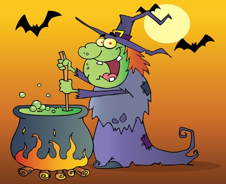 Ugly Witch Preparing A Potion In Halloween Night