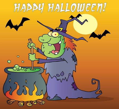 Happy Halloween Greeting Over A Green Halloween Witch Making A Potion Ilustracja