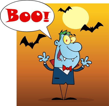 cartoon vampire: Blue Vampire Yelling Boo And Holding Up His Arms