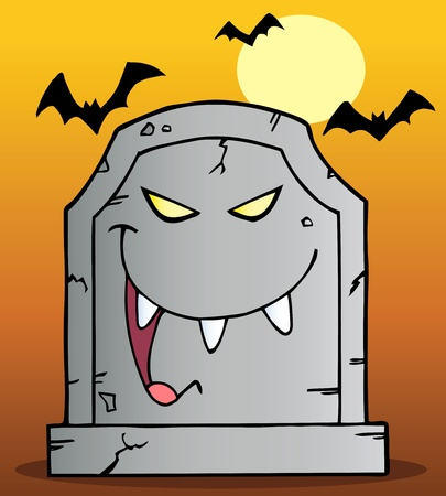 Laughing Tombstone Mascot Cartoon Character Ilustracja