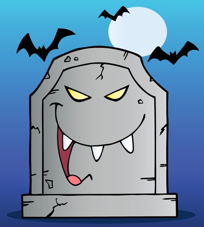 cemetery: Laughing Tombstone Cartoon Character In Halloween Night