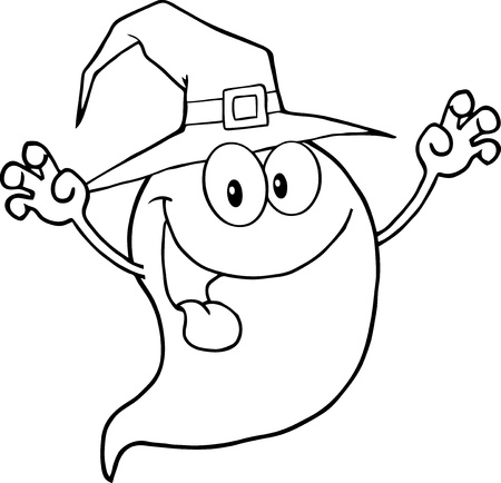 scaring: Outlined Spooky Ghost Wearing A Witch Hat