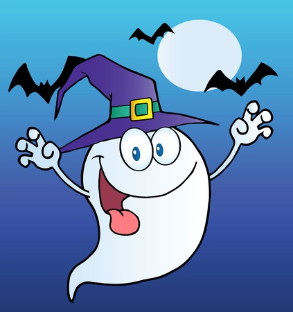 scaring: Spooky Ghost Wearing A Witch Hat Over Bats On Blue
